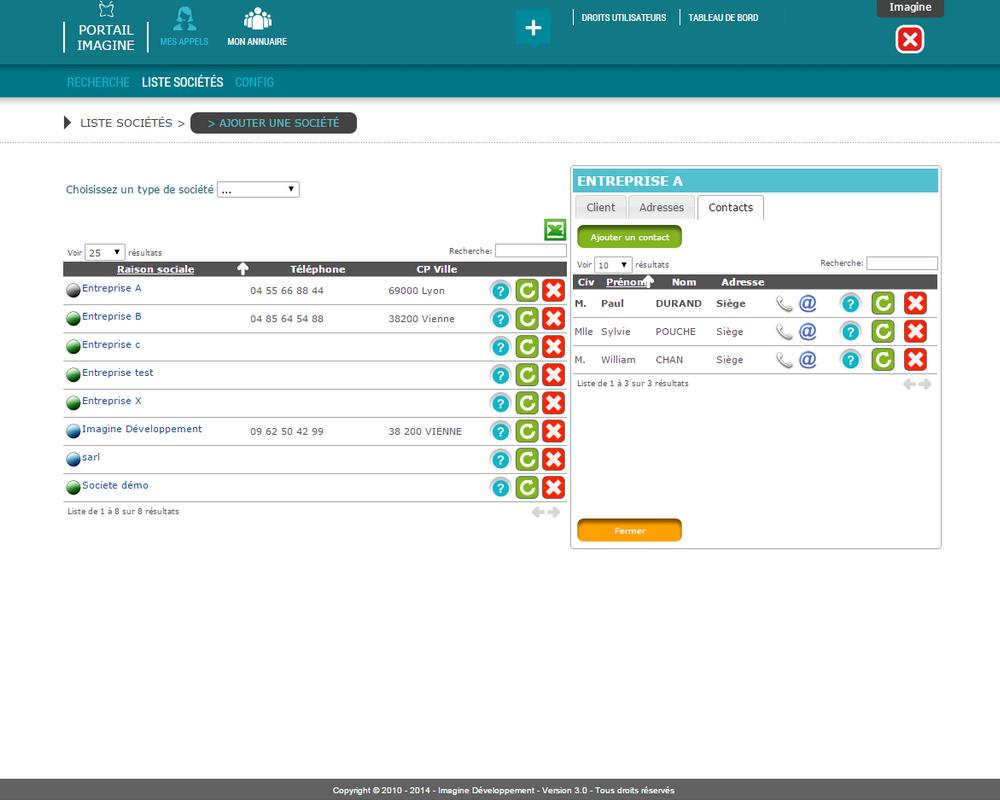 Interface de saisie des contacts dans l'application Mes Appels