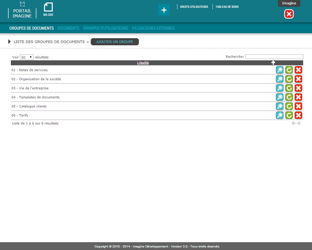 Interface de saisie des groupes de documents dans l'outil Ma GED