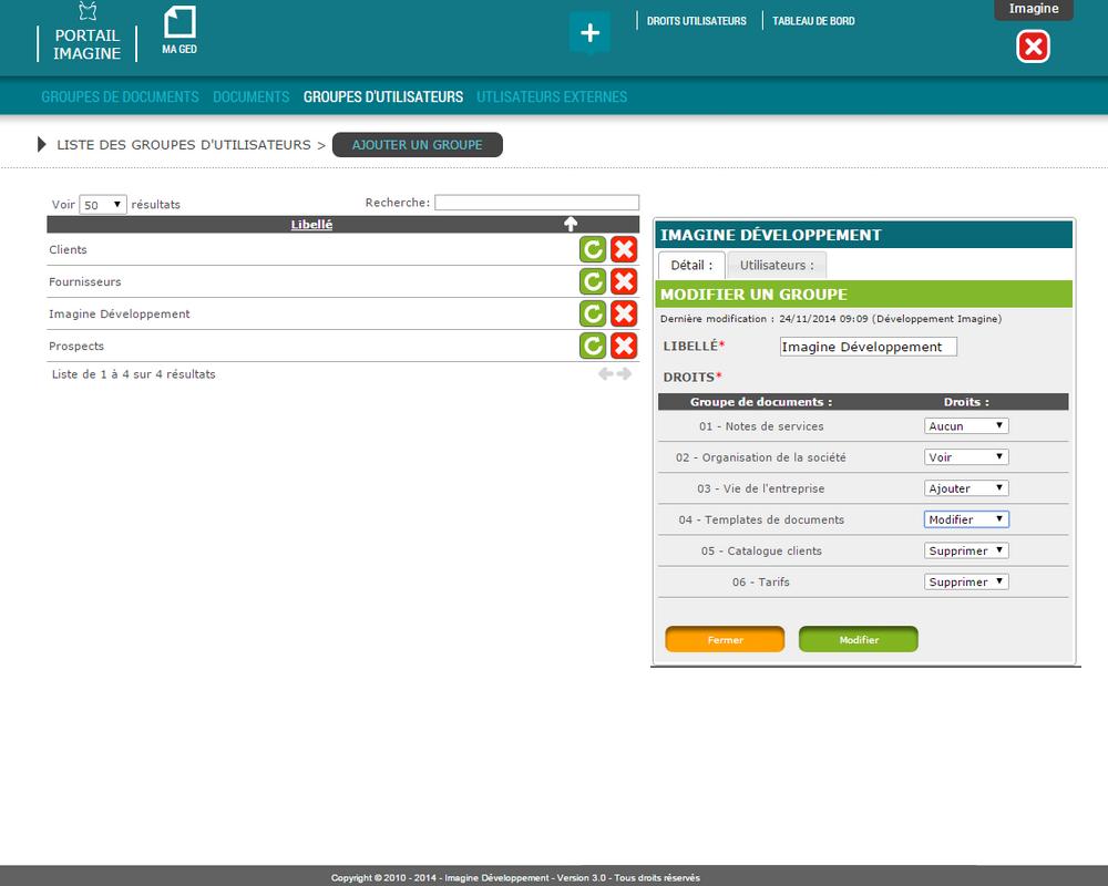Interface de saisie des groupes d'utilisateurs dans le logiciel Ma GED