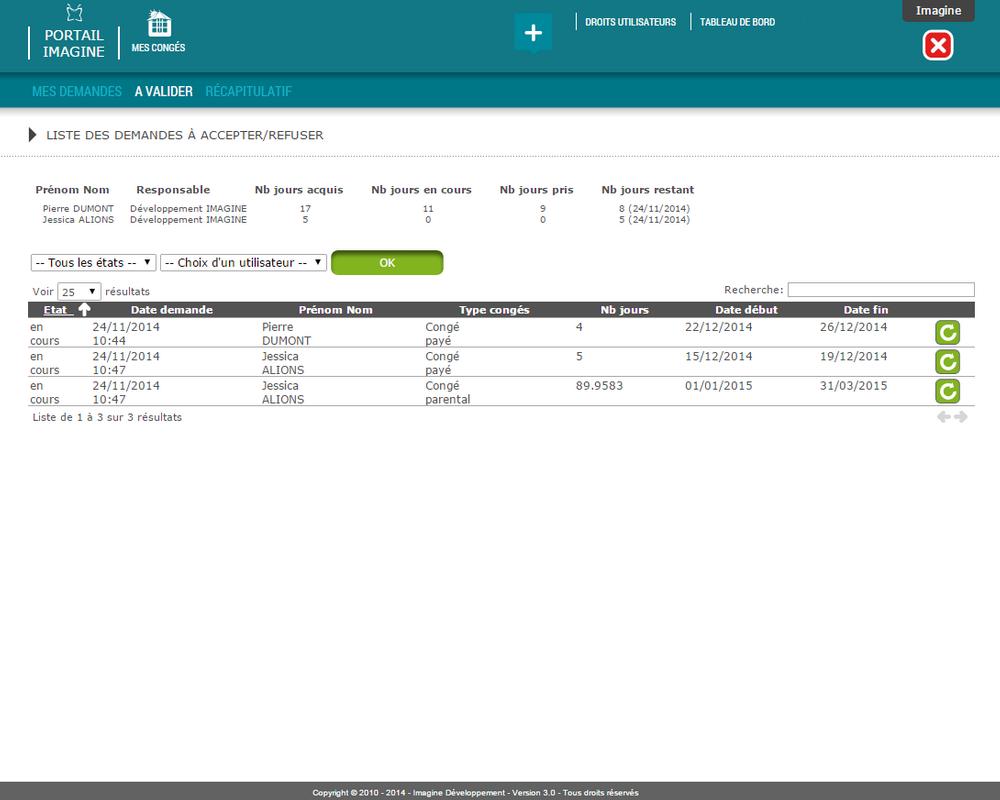 Interface de validation ou refus d'une demande dans l'outil Mes Congés