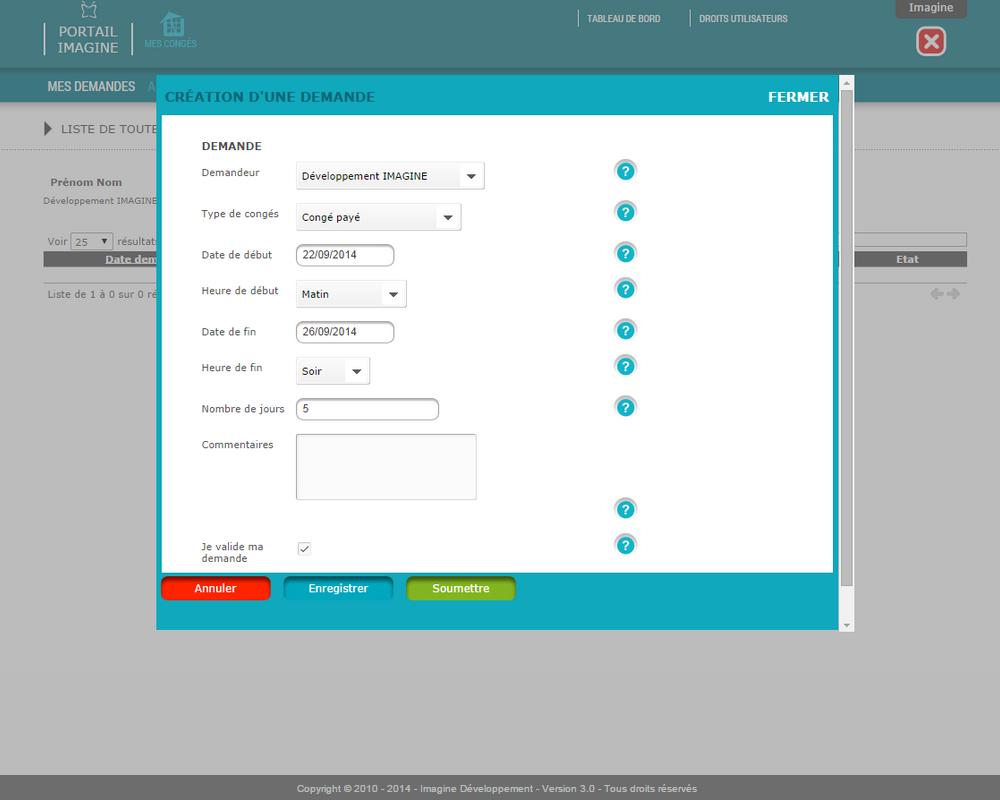 Interface de saisie d'une demande de congés dans le logiciel Mes Congés