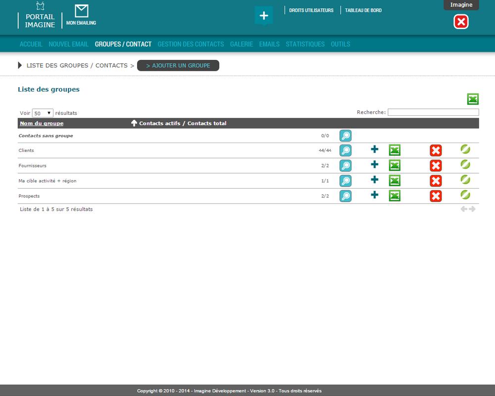 Interface d'import des contacts dans l'application Mon Emailing