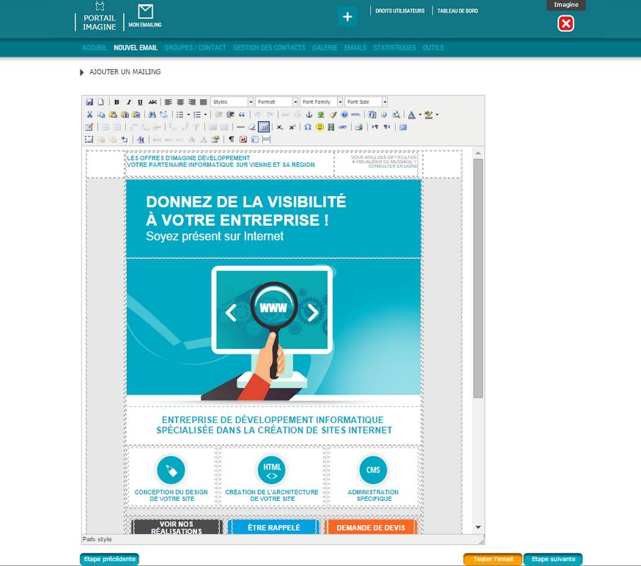 Interface de création d'un emailing dans l'application Mon E.mailing