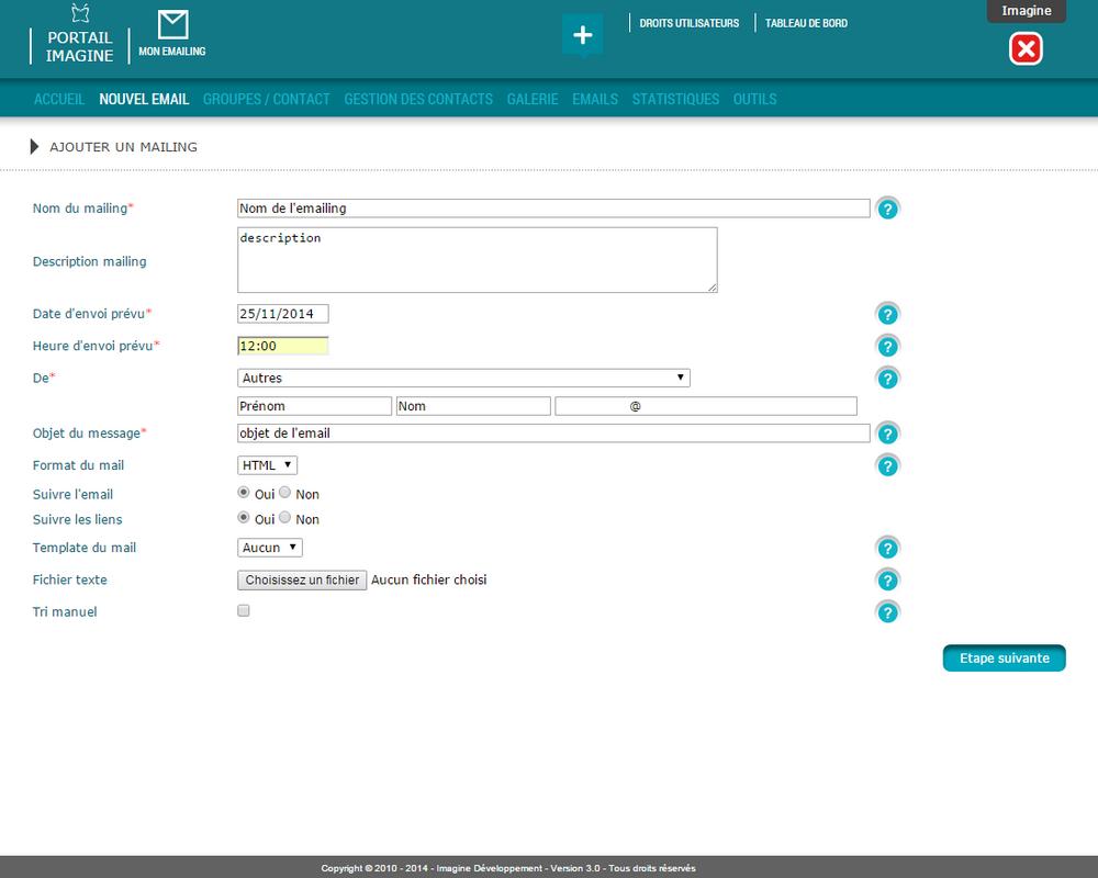 Interface de planification d'une campagne emailing dans le logiciel Mon E.mailing