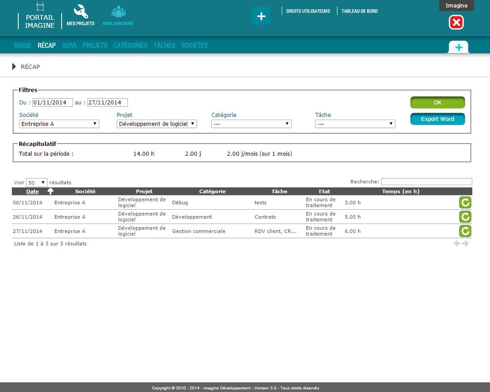 Interface de récap des projets dans l'application Mes Projets