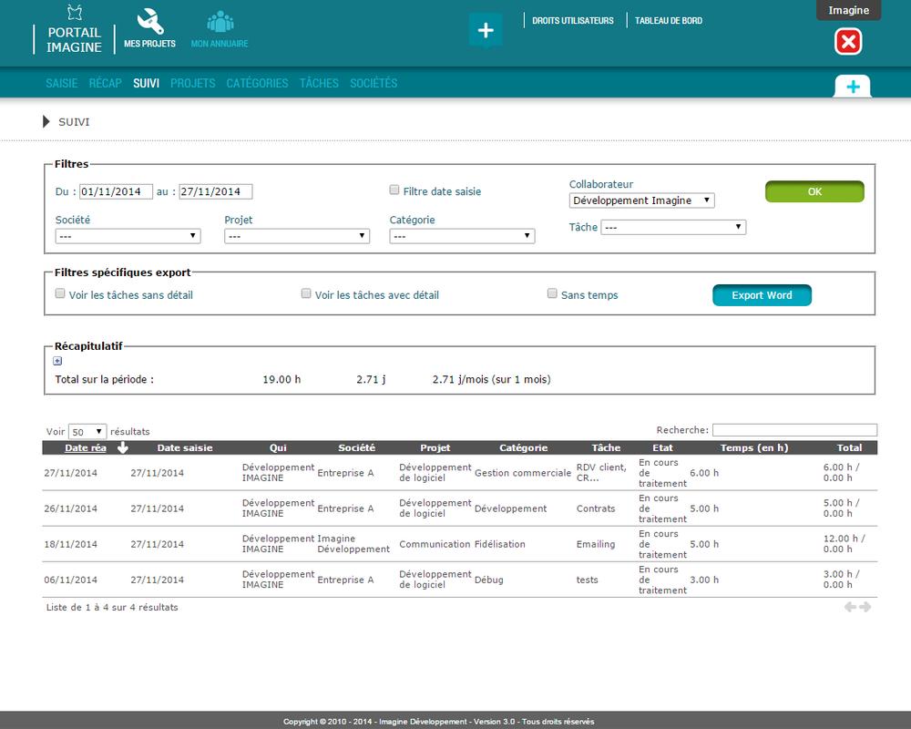 Interface de suivi des projets dans l'outil en ligne Mes Projets