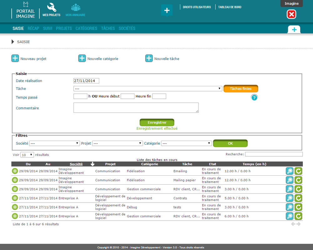 Interface de saisie des projets dans le logiciel Mes Projets