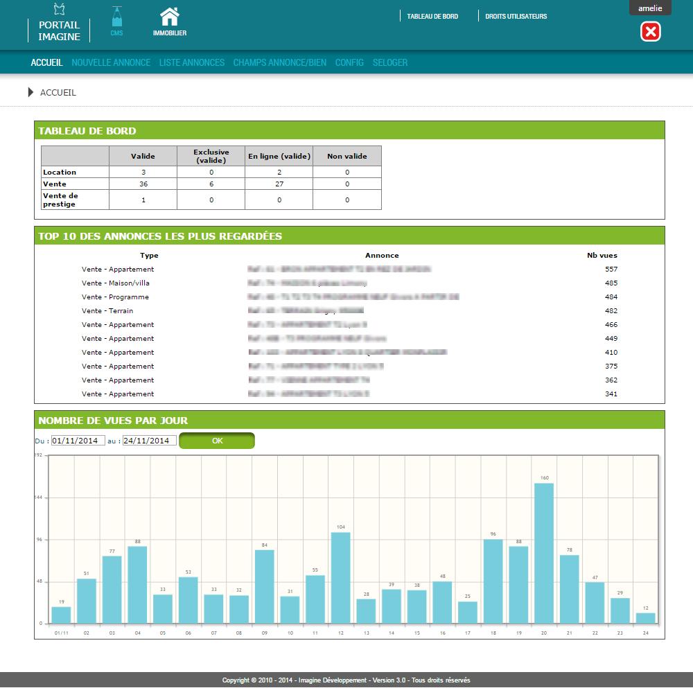 Interface de statistiques des annonces immo dans l'application Mon Agence Immobilière