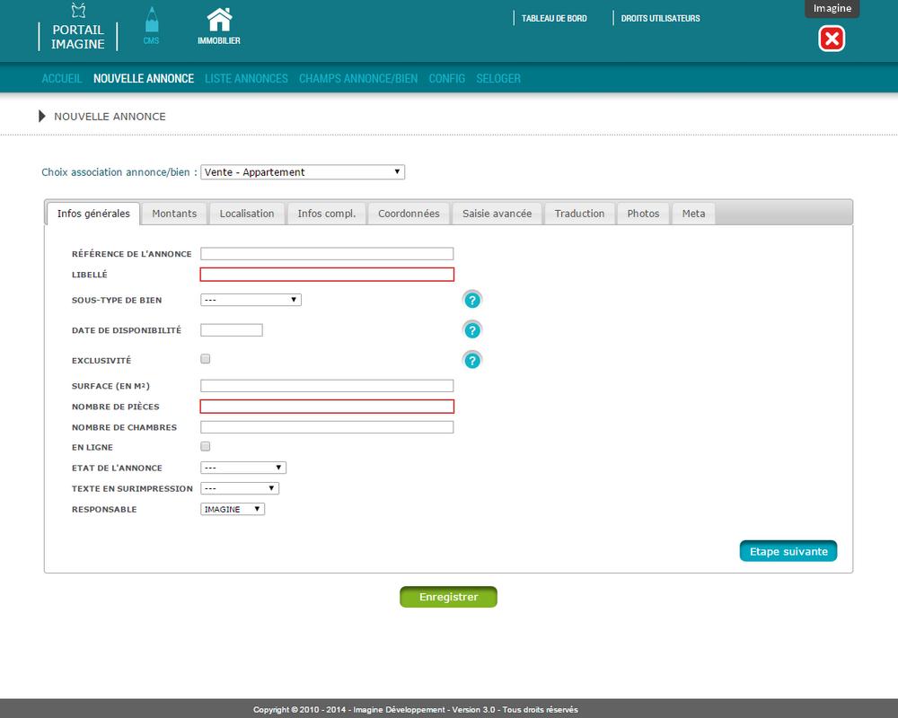 Interface de saisie des biens immobiliers dans l'application Mon Agence Immobilière
