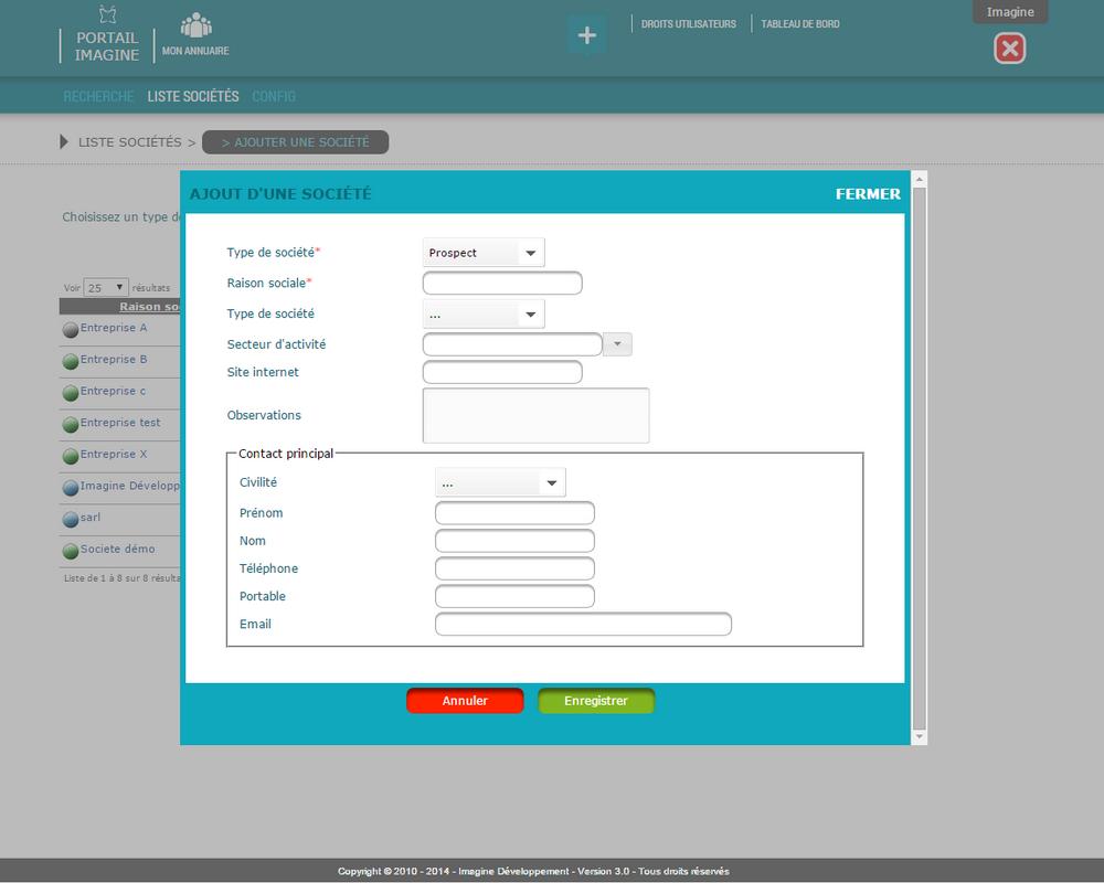 Interface de saisie des contacts dans l'application Mon Annuaire