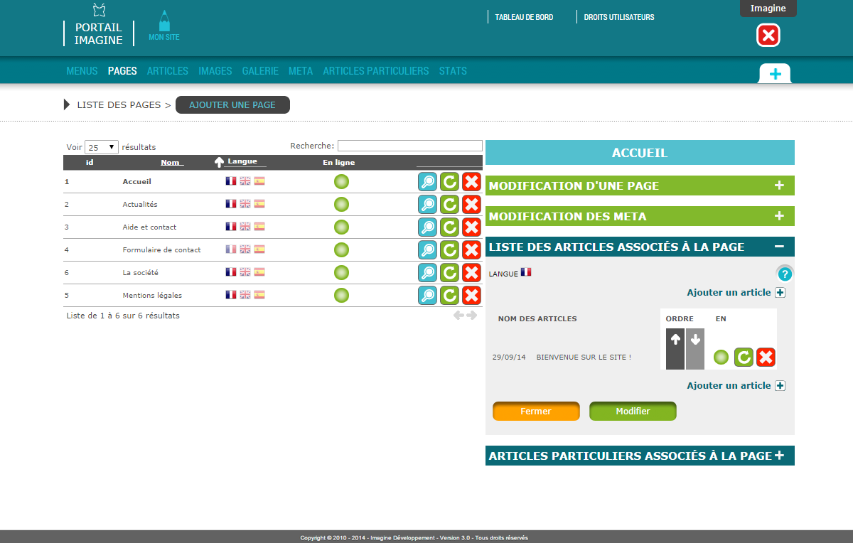 Interface de gestion des pages CMS Mon Site by Imagine