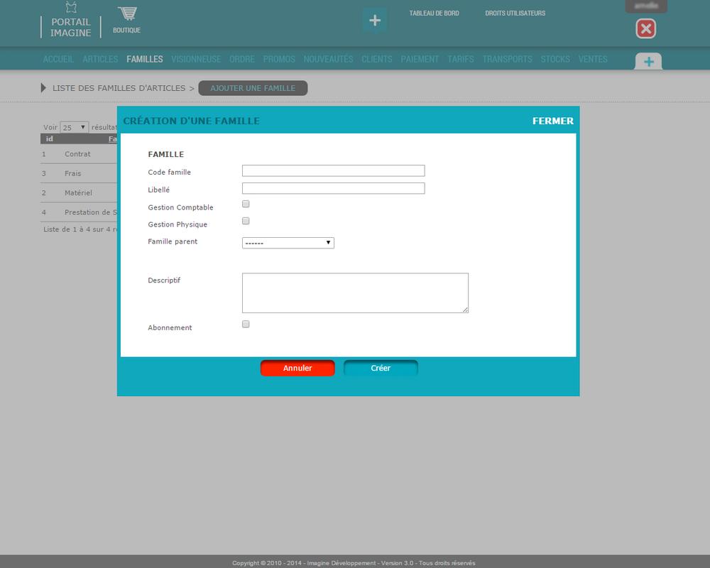Interface de gestion des familles d'articles