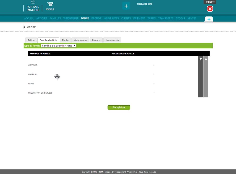 Interface de gestion de l'ordre d'apparition des articles et familles ...