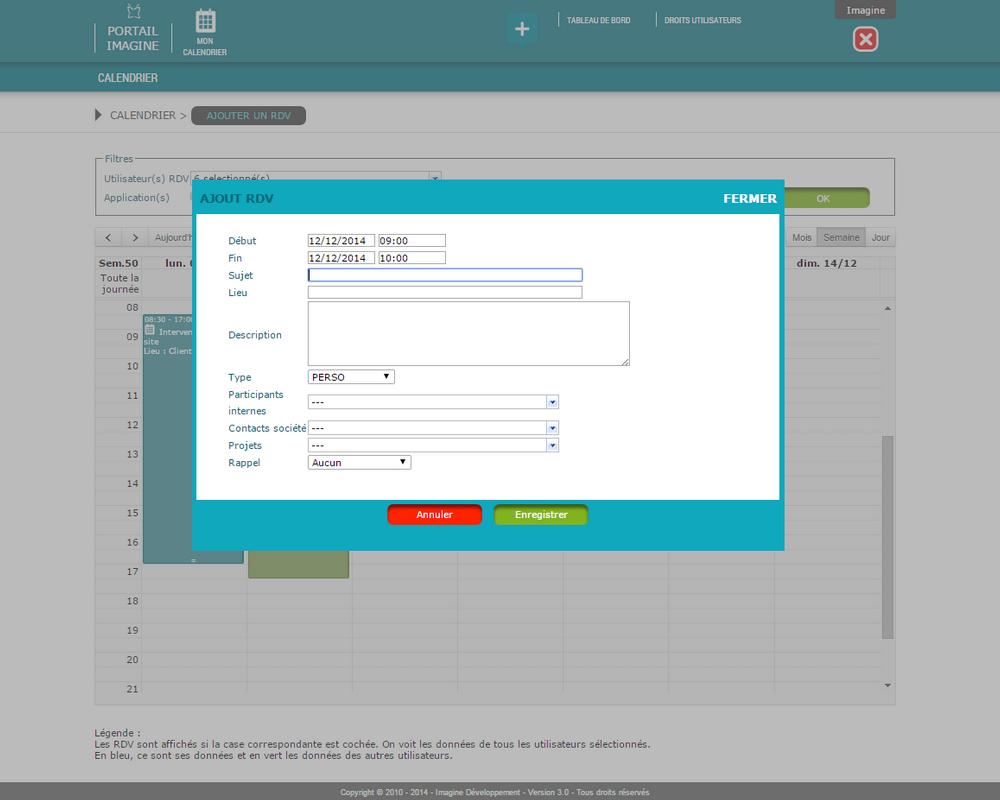 Interface de saisie des RDV dans l'application Mon Calendrier