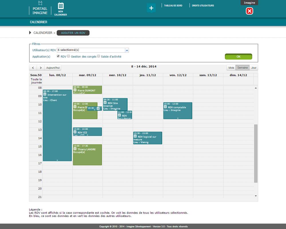 Interface de visualisation des RDV dans l'application Mon Calendrier