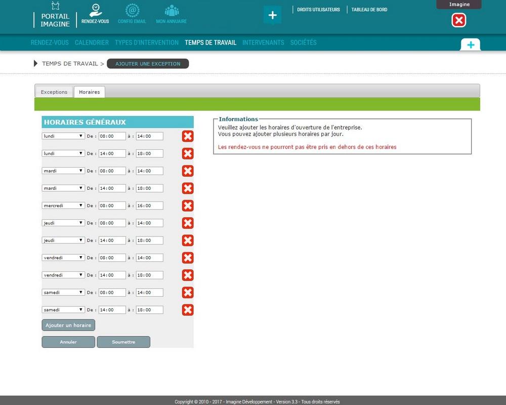 Interface de configuration temps de travail Mes RDV